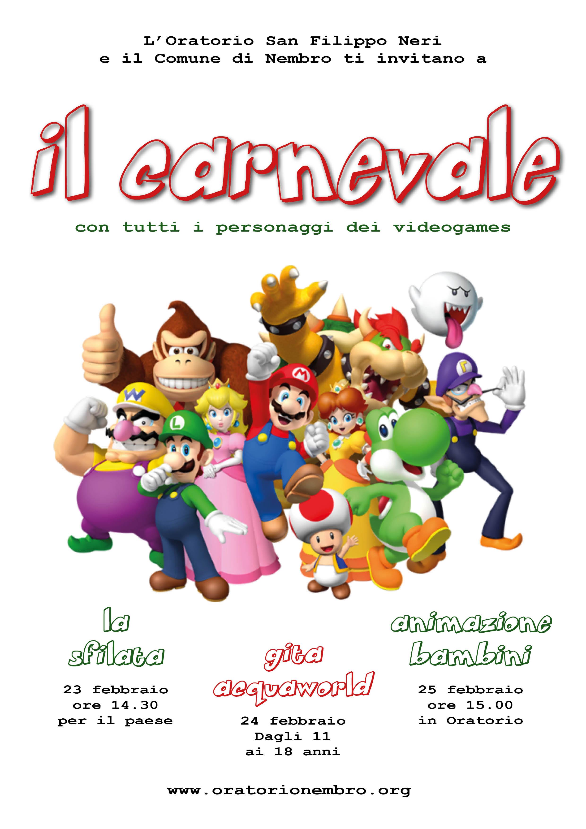 Il Carnevale con tutti i personaggi dei videogames